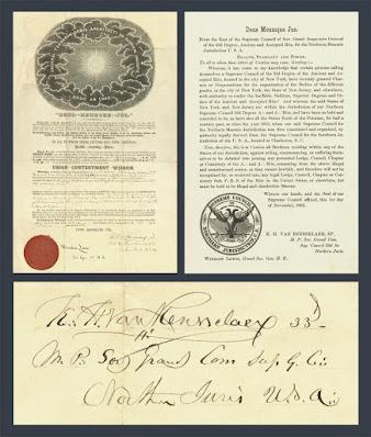 Killian Henry Van Rensselaer, 33°. Documents. Supreme Council. Scottish Rite, NMJ