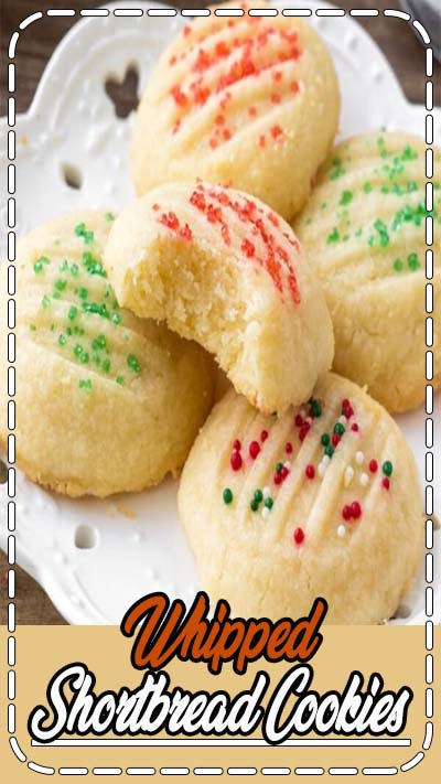 Whipped shortbread cookies are light as air with a delicious buttery flavor. They melt in your mouth because they're so soft, and only require a few simple ingredients. #shortbread #christmas #cookies #holidays #holidaycookies #cookieexchange #baking