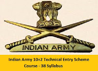 Indian Army 10+2 Technical Entry Scheme Course - 38 Syllabus