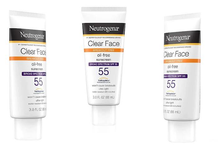 Neutrogena clear face sunscreen SPF 55 review