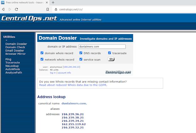 cara cek domain dengan central ops