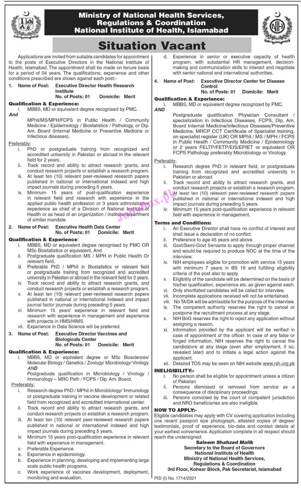 Ministry of National Health Services Jobs 2021 – NIH Jobs