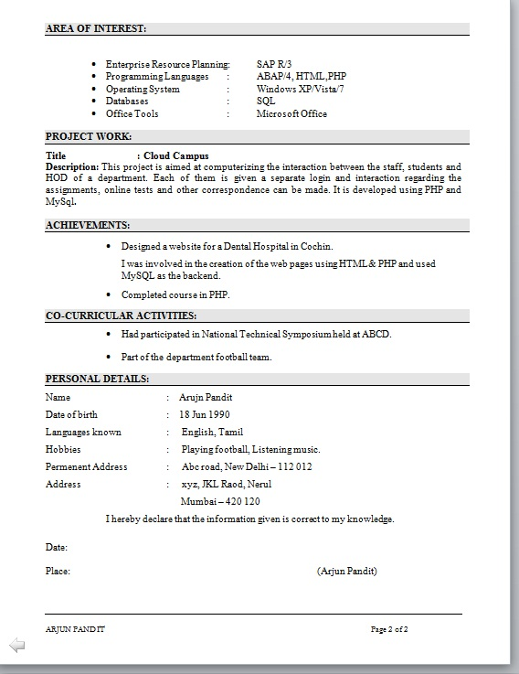 Abap Fresher Resume Sample Sample Curriculum Vitae Resume Template