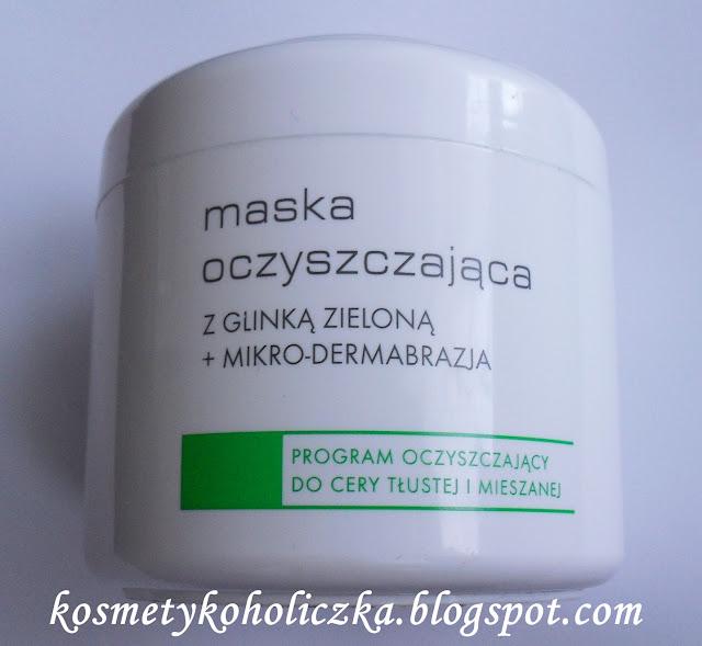 Ziaja Pro: maska oczyszczająca z glinką zieloną + mikro-dermabrazja.