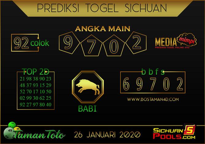 Prediksi Togel SICHUAN TAMAN TOTO 26 JANUARI 2020