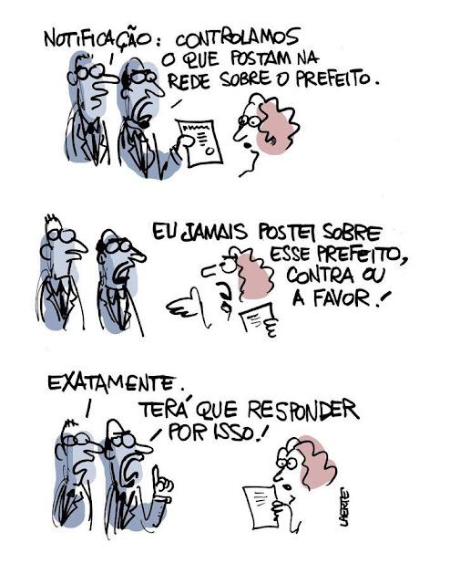 Logo depois que o prefeito de São Paulo, João Doria (PSDB), contratou advogados para perseguir usuários das redes sociais que fazem críticas a ele na internet, a Laerte se saiu com mais uma charge genial. Veja aqui.
