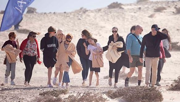 Angelina Jolie brings her children to Canary Islands beach with Eternals co-star Lia McHugh