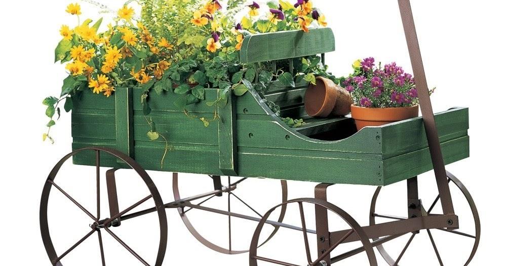 Green Amish Wagon Decorative Indoor//Outdoor Garden Backyard Planter