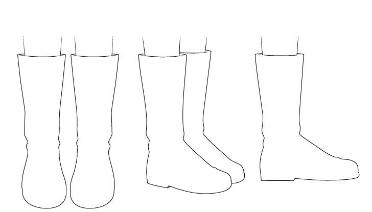 Sepatu bot anime menggambar garis besar