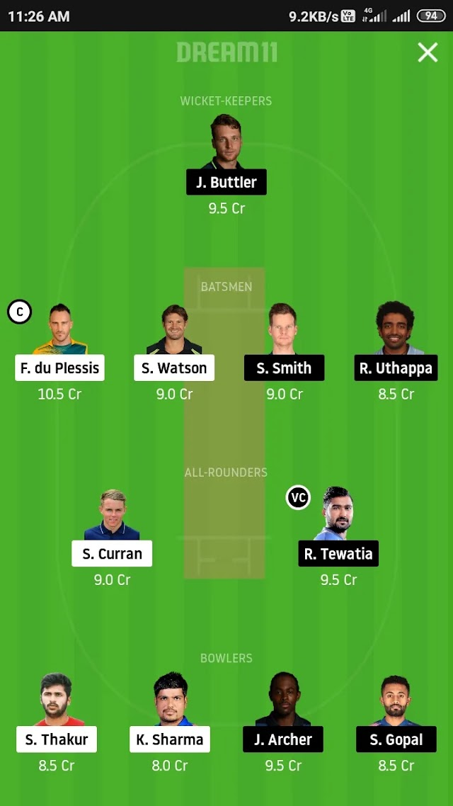 CSK VS RR,match 37 fantasy 11 prediction and tips