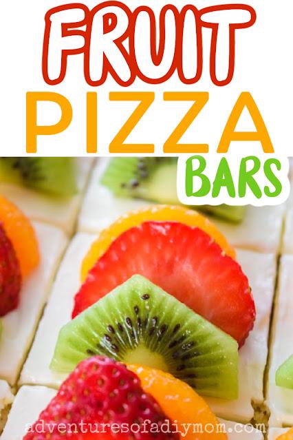 fruit pizza bars topped with strawberry, kiwi and mandarin oranges