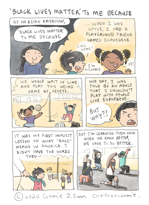 asian american identity, black lives matter, childhood story, race in america, comics, autobio comics, sketchbook, illustration, connie sun, cartoonconnie, diary comics