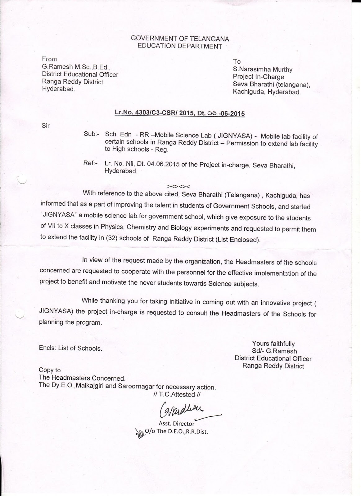 jignyasa rangareddy deo permission letter to sevabharathi seva bharathi giving science exposure to 14 000 secondary class students 6th 10th class by ing 43 schools in both rangareddy and hyderabad
