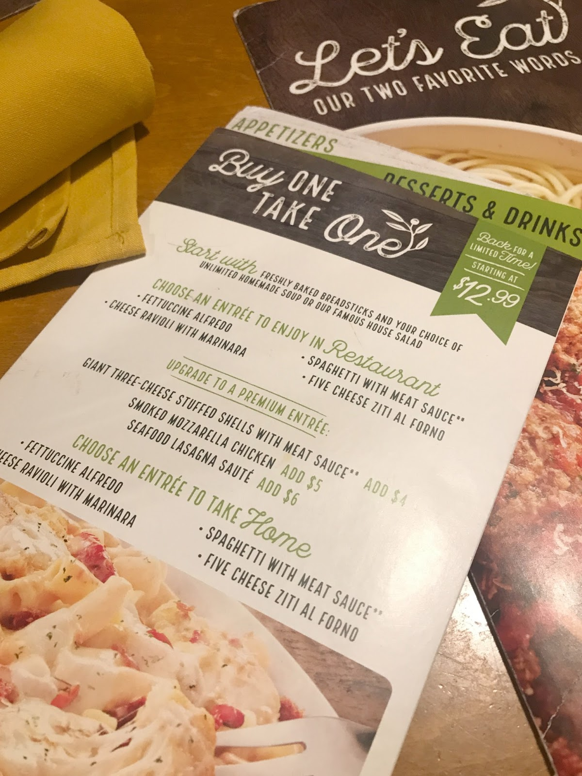 Dinner And Leftovers Made Easy With Olive Garden Giveaway Building Our Story