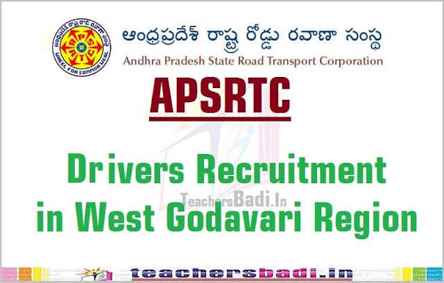 APSRTC,Drivers Recruitment,West Godavari Region