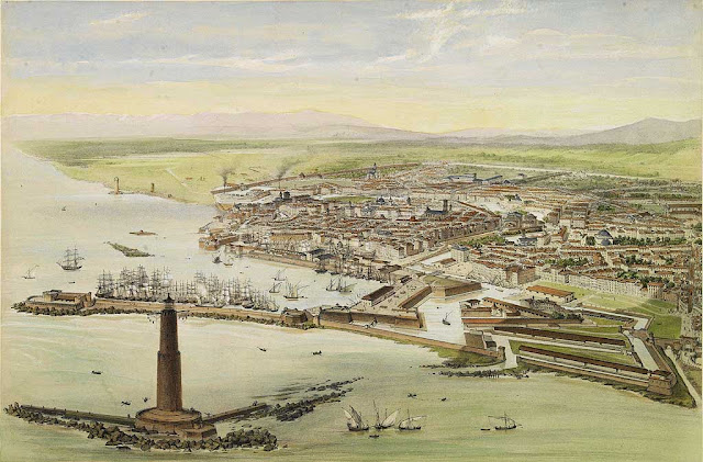 Livorno, view from the top of the lighthouse, by Alfred Guesdon