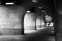 under the bridge black white street photography