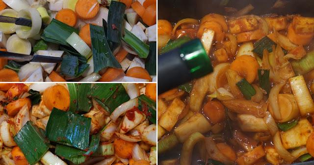 Gemüse abraten und ablöschen