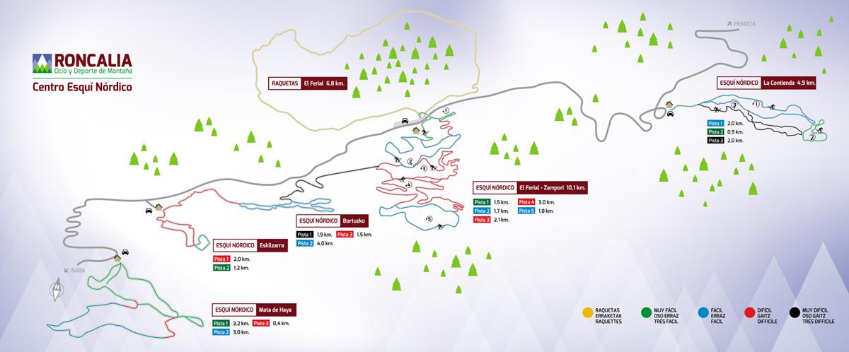 Plano de las pistas de Larra-Belagua, facilitado por Roncalia