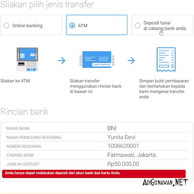 transfer deposit octafx via ATM