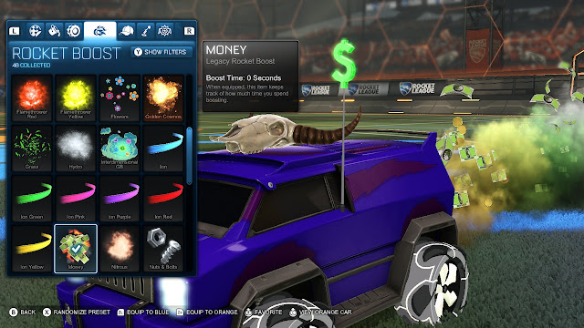 Rocket League car cow skull money boost dollar sign Nintendo Switch free-to-play