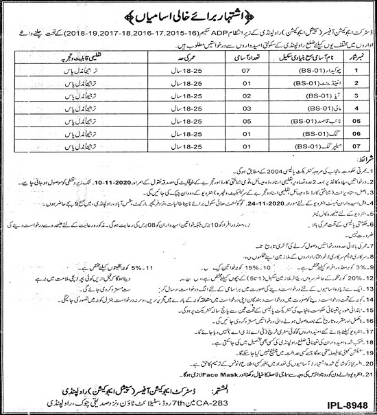 education-department-rawalpindi-jobs-2020-naib-qasid-chowkidar