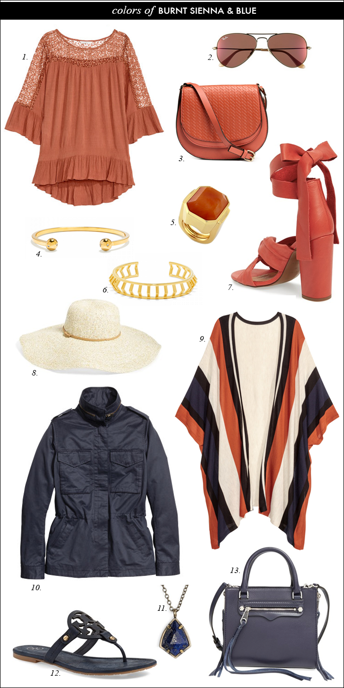 topshop, navy and orange, spring colors, striped poncho, ray ban aviator sunglasses on sale