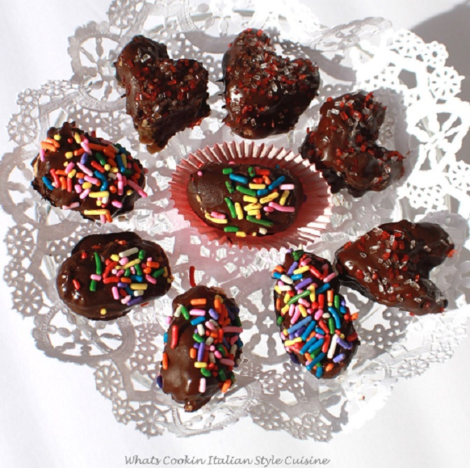 homemade chocolate peanut butter candy in hearts and egg shapes for Easter