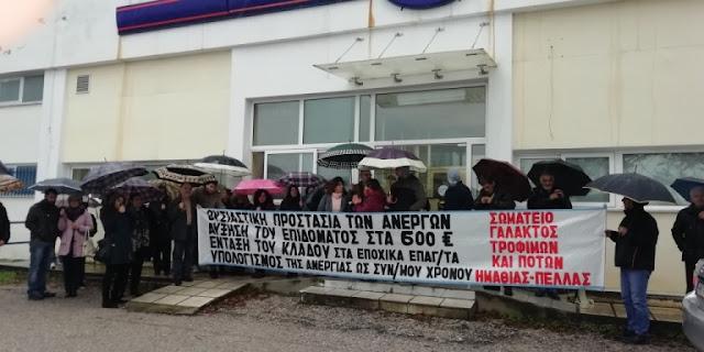 Κινητοποίηση στον ΟΑΕΔ Βέροιας πραγματοποίησε το Συνδικάτο Γάλακτος, Τροφίμων και Ποτών  Ημαθίας - Πέλλας