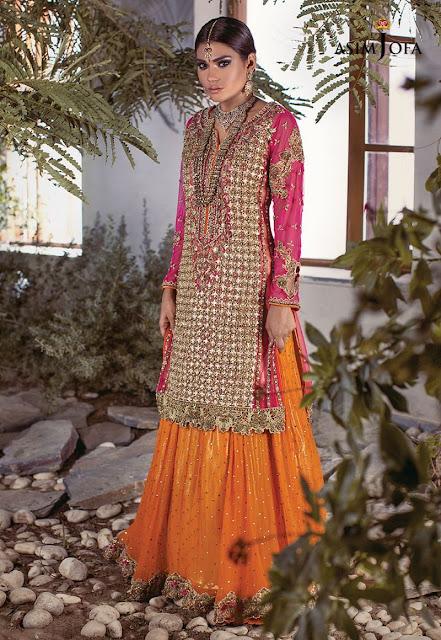 Asim Jofa bridal Pink shirt with lehnga dress