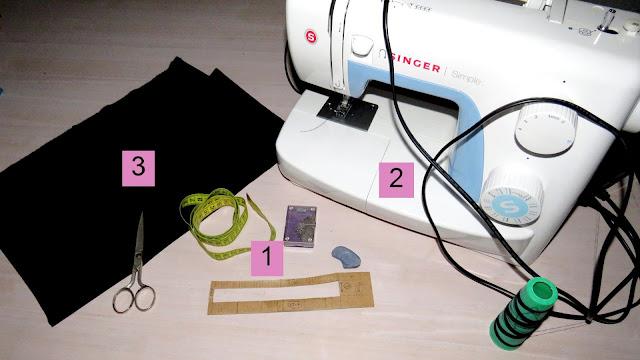 Materiales para coser lazo: Tijera, cinta métrica, puntímetro, jaboncillo, máquina de coser, hilo y tejido