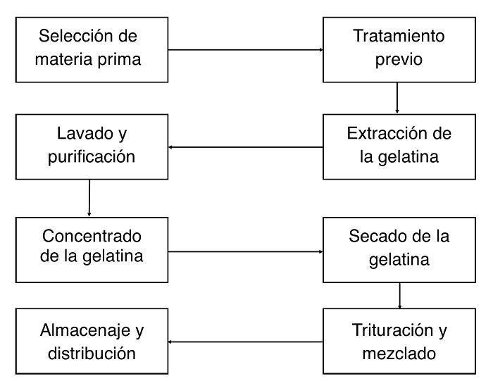 Diagrama del proceso de fabricación de gelatina