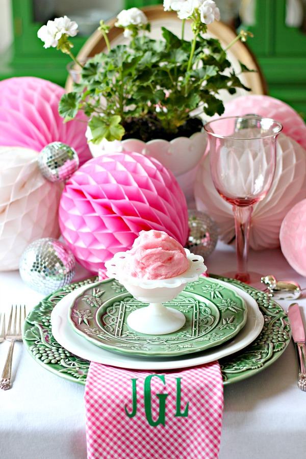PRETTY PINK AND GREEN EASTER TABLE - Dimples and Tangles