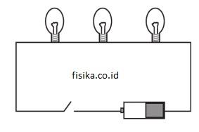 rangkaian seri lampu dengan baterai
