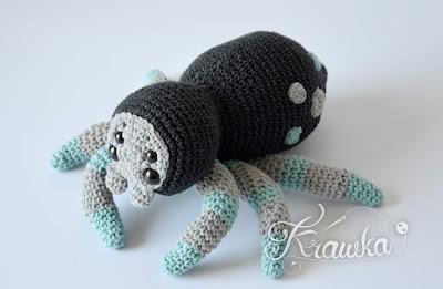 Krawka: Tarantulina the spider Halloween crochet pattern by Krawka, tarantula, cute spider, Halloween creepy cute amigurumi pattern