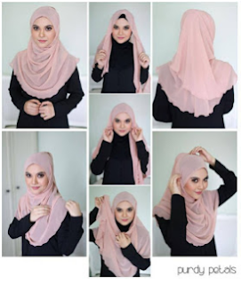 tutorial hijab Paris segi empat simple terbaru