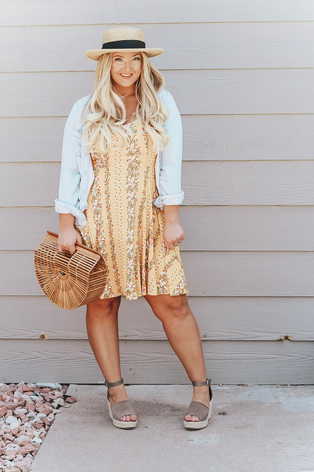 Yellow Floral Dress featured by popular Denver fashion blogger, Delayna Denaye