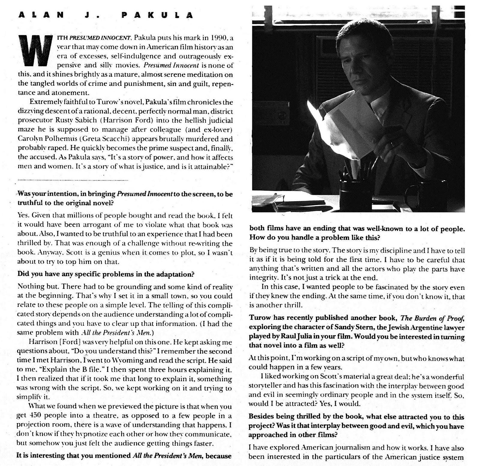 Alan J. Pakula Interview: PRESUMED INNOCENT  Presumed Innocent 1990