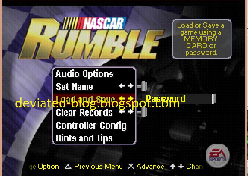 Kode Password Game Nascar Rumble PS1 Lengkap dan Cara menggunakannya [Cheat]