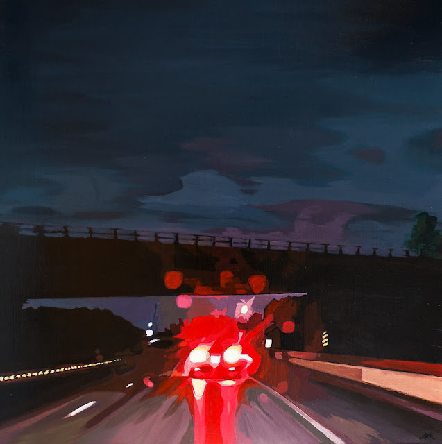 "Overpass, Acrylc on Board, 24"" x 24"", Anne Marie MacEachen"
