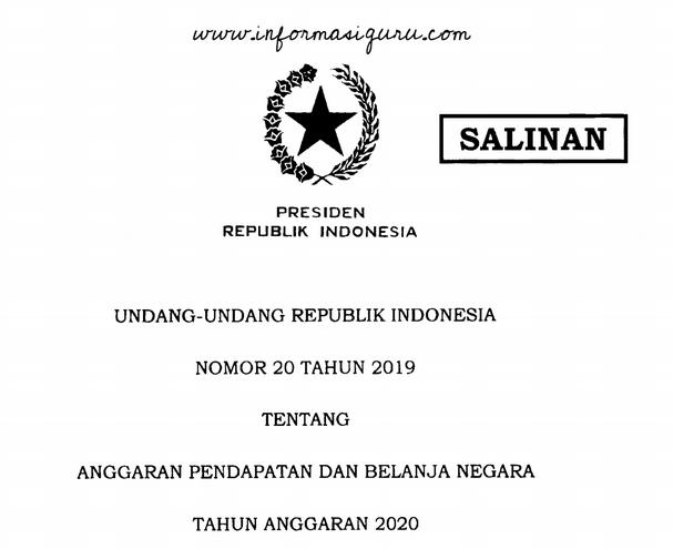 Download  Undang-undang Nomor 20 Tahun 2019 Tentang APBN (Anggaran Pendapatan dan Belanja Negara Tahun Anggaran) 2020 I pdf
