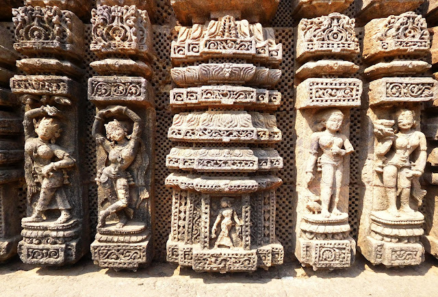 The 108 poses of Bharatnatyam depicted on the walls of the dancing hall (nat mandir) at the Konark Sun Temple, Orissa