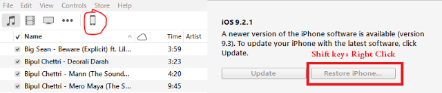 After that select the downloaded .ipsw file and you're done. The restoring process takes a while.