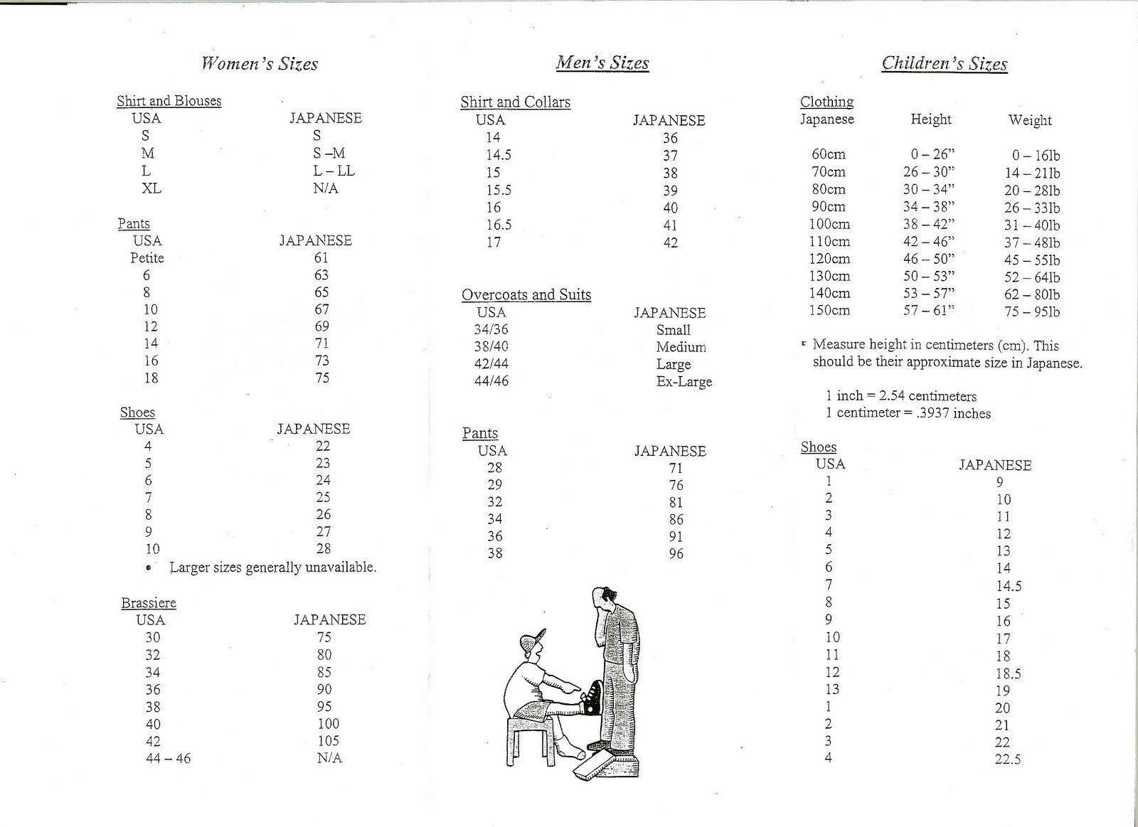 Here   one  found from misawa air base on usa japan clothing size conversion chart for men women children also the bane of sizes rh gaijinlivinginjapanspot