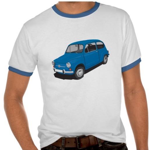 Blue Fiat 600 t-shirts