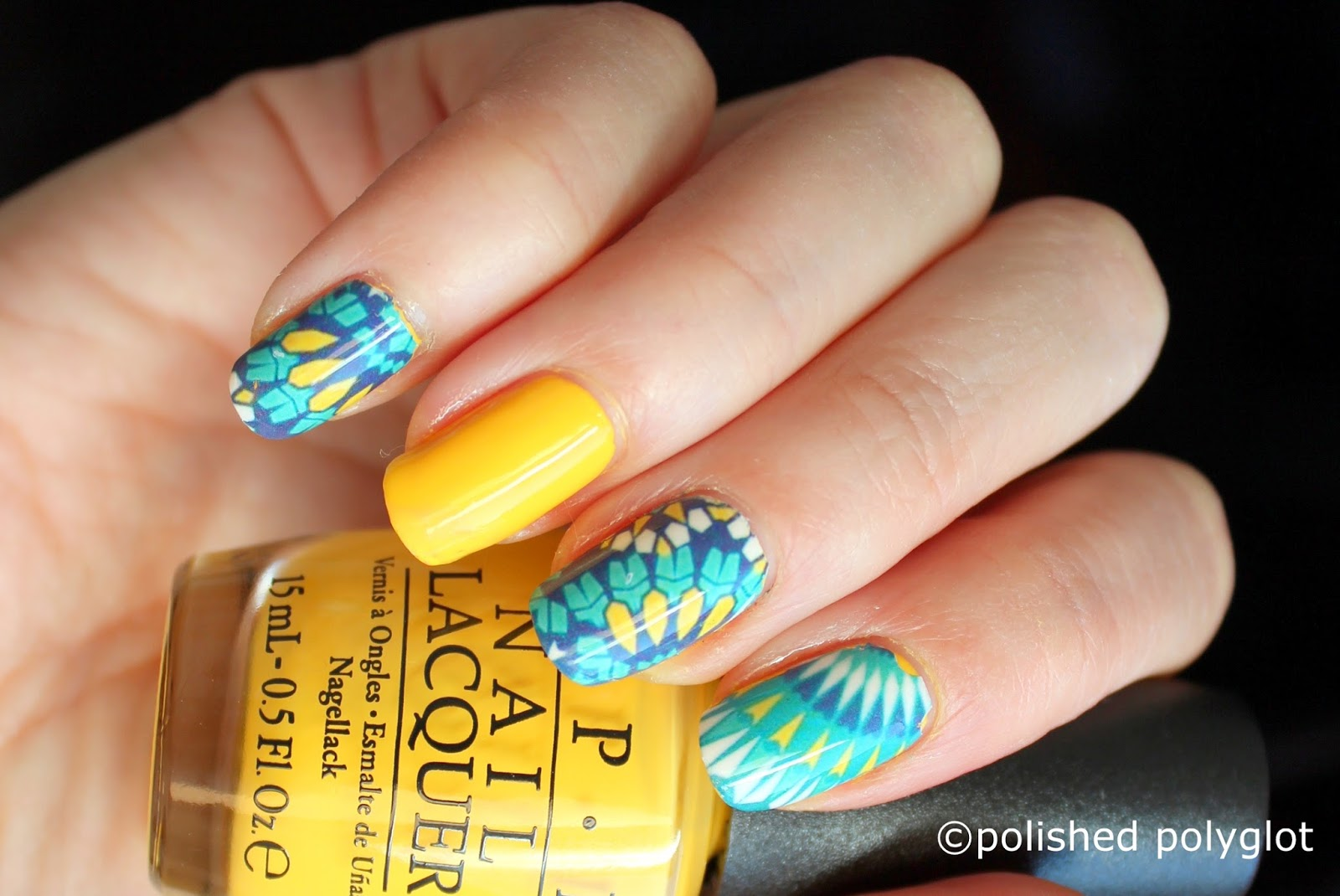 Nail art │ Green Freestyle design [26GNAI] / Polished Polyglot