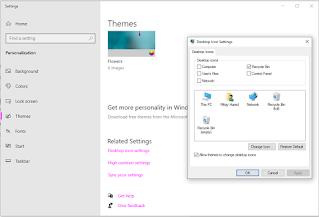 menu themes dan desktop icon settings