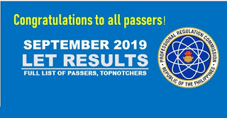 September 2019 Results of Licensure Examination for Teachers