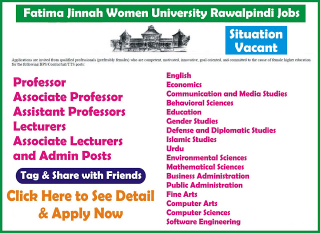 Teaching and Admin Jobs in Fatima Jinnah Women Jinnah University Rawalpindi Jobs