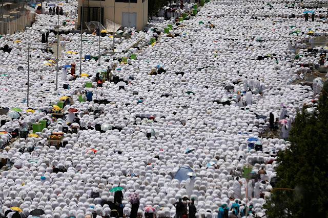 Muslim pilgrims in the Holy Land on Arafat Day